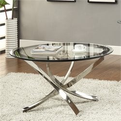 Coaster Metal and Glass Cocktail Table in Chrome