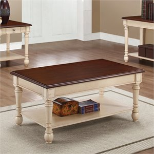 Coaster Two-Toned Coffee Table in Brown and White