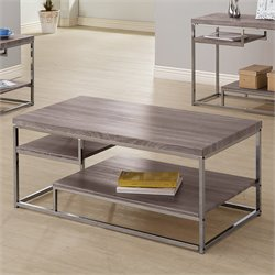 Coaster Weathered 2 Shelf Coffee Table in Dark Grey and Chrome