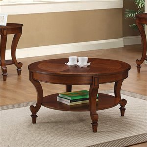 Coaster Coffee Table with Curved Legs in Warm Brown