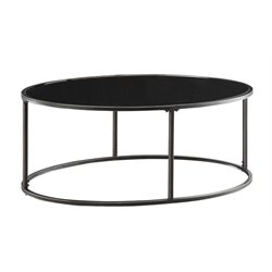 Coaster Oval Coffee Table in Black and Gunmetal