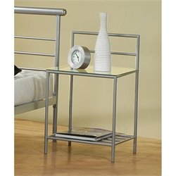 Coaster Stoney Creek 2 Shelf Nightstand in Silver