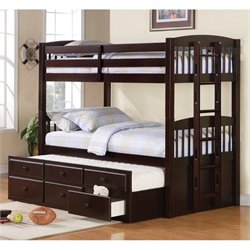 Coaster Logan Twin Bunk Bed with Trundle in Cappuccino