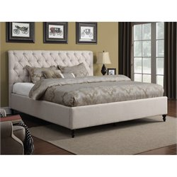 Upholstered Bed with Headboard in Oatmeal