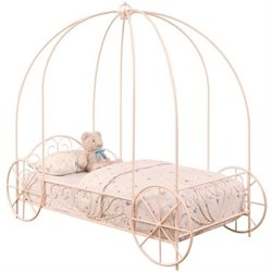 Coaster Twin Canopy Carriage Bed in Pink