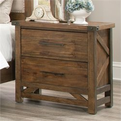 Coaster Bridgeport 2 Drawer Nightstand in Weathered Acacia