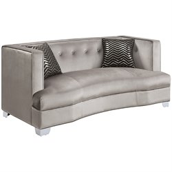 Coaster Caldwell Fabric Loveseat in Silver