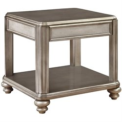 Coaster 1 Shelf End Table in Metallic Platinum