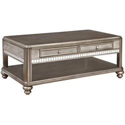 Coaster 2 Drawer Coffe Table in Metallic Platinum
