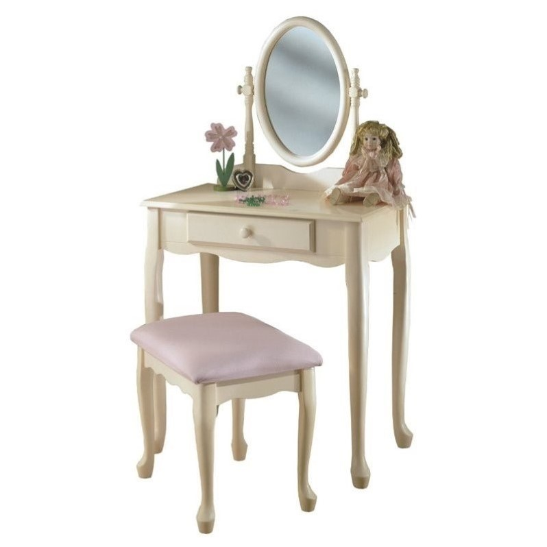 Powell Furniture Girl\'s Vanity with Mirror and Bench Set in Off ...
