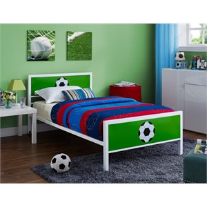 Powell Goal Keeper Twin Bed in White and Green