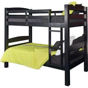Powell Levi Twin over Twin Bunk Bed in Black