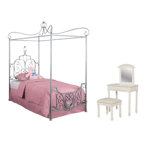 3 Piece Kids Bedroom Set in Silver and White