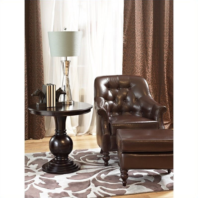 Powell Furniture Round Pedestal End Table in Espresso