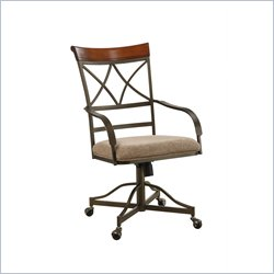 Powell Furniture Hamilton Dining Side Chair on Casters in Medium Cherry