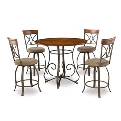 Powell Furniture Hamilton 5 Piece Dining Set in Medium Cherry
