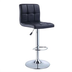 Powell Furniture Adjustable Bar Stool in Black and Chrome