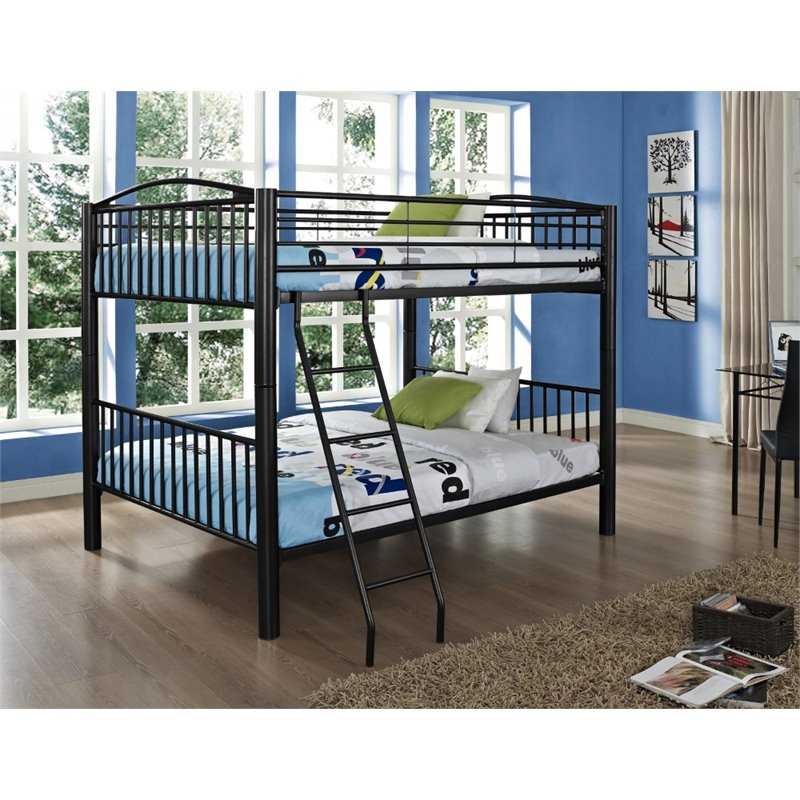 Powell Heavy Metal Full Over Full Bunk Bed in Black