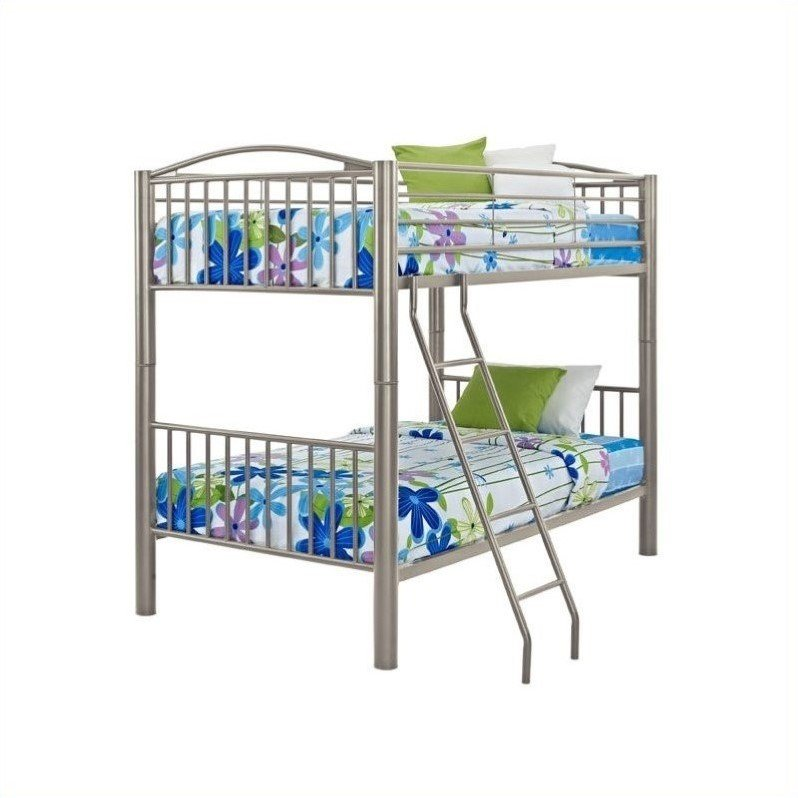 Powell Heavy Metal Twin Over Twin Bunk Bed in Pewter