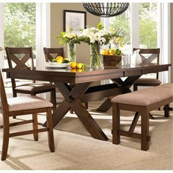 Powell Furniture Kraven Dining Table in Dark Hazelnut