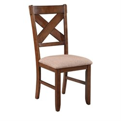 Powell Furniture Kraven Dining Side Chair in Dark Hazelnut