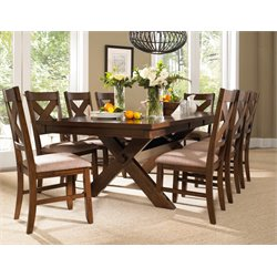 Powell Furniture Kraven 9 Piece Dining Set in Dark Hazelnut Finish