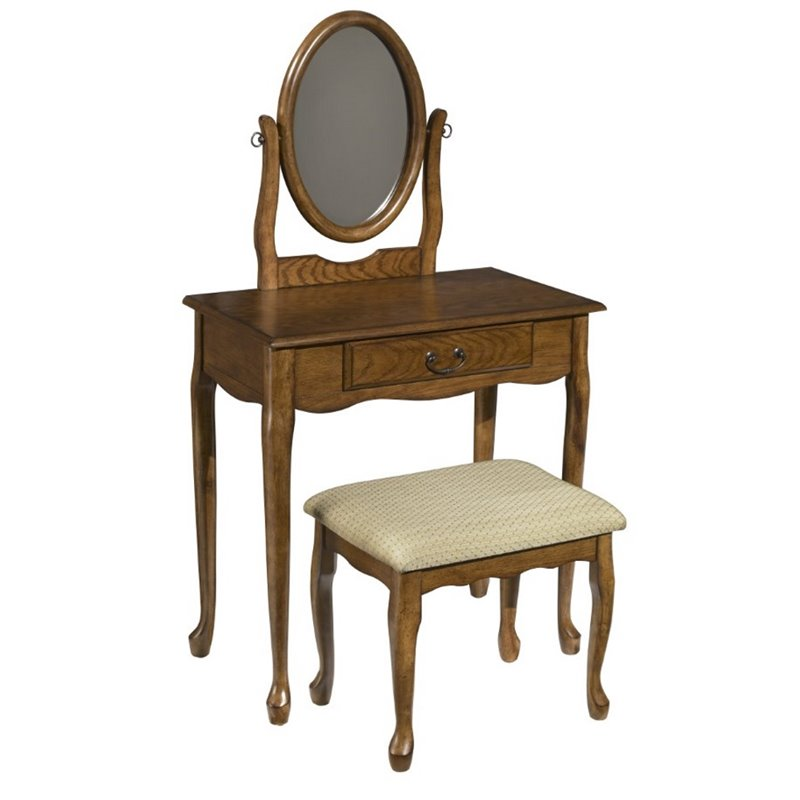Woodland Vanity and Bench Set in Oak