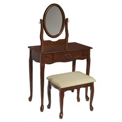 Powell Furniture 3 Piece Vanity Set in Woodland Cherry