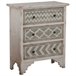 Powell Furniture Aubrey Accent Chest in White and Gray