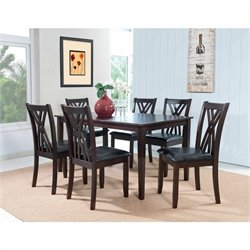 Powell Furniture Cafe Masten 7 Piece Dining Set in Espresso