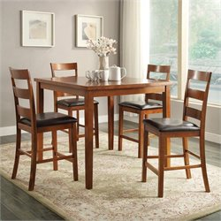 Powell Furniture Cafe Tremont 5 Piece Counter Set in Light Espresso