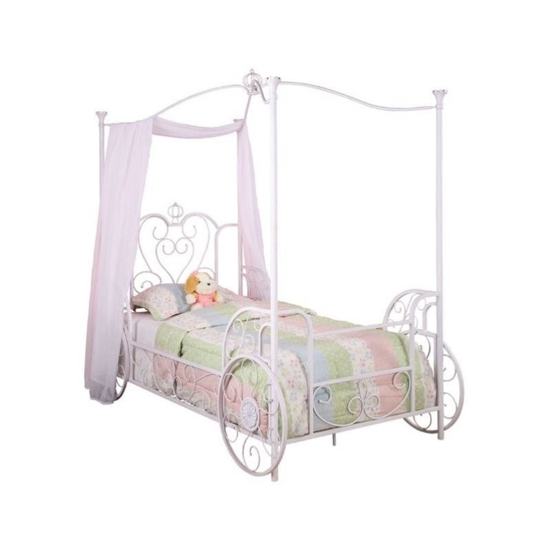 Powell Furniture Princess Emily Carriage Twin Metal Canopy Bed in White