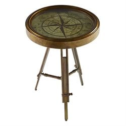 Powell Furniture Compass Accent Table in Brass
