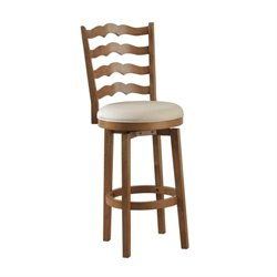 Powell Furniture 30'' Swivel Ladder Back Bar Stool in Chestnut
