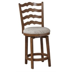 Powell Furniture 24'' Swivel Ladder Back Counter Stool in Chestnut
