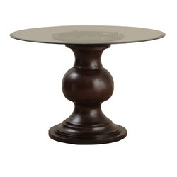 Powell Furniture Jasmine Glass Top Round Dining Table in Espresso