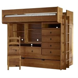Powell Furniture Wyatt Full Bunk Bed with  Twin Trundle in Honey