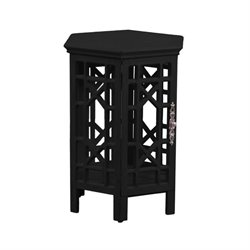 Powell Furniture Lakeland Wood Hexagonal End Table in Black