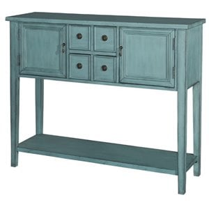 Powell Furniture Duplin Rectangular Console Table in Distressed Blue
