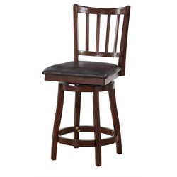 Powell Furniture Gatewood 24'' Swivel Counter Stool in Dark Brown