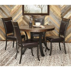 Powell Furniture Franklin 5 Piece Dining Set in Rustic Umber