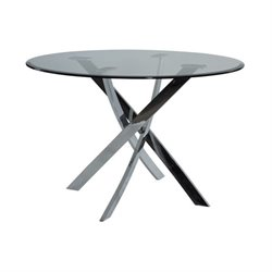 Powell Furniture Powell Glass Top Round Dining Table in Cool Chrome