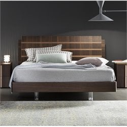Rossetto Tratto Queen Sleigh Platform Bed in Rich Oak