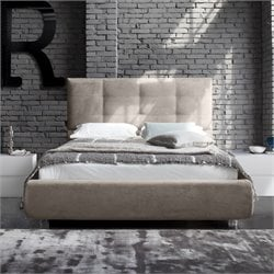 Rossetto New Age Upholstered Queen Platform Bed in Beige