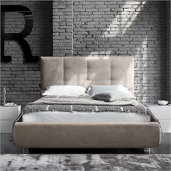 Rossetto New Age Upholstered King Platform Bed in Beige