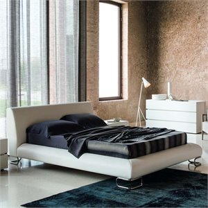 Rossetto Lotto Leather Upholstered Bed in White