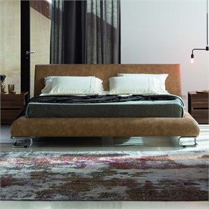 Rossetto Lotto Leather Upholstered Bed in Tabacco
