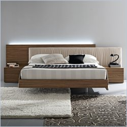Rossetto Edge Platform Bed in Walnut - Queen