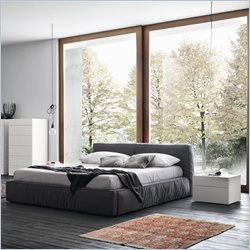Rossetto Twist Low Profile Platform Bed in Dark Grey - Queen