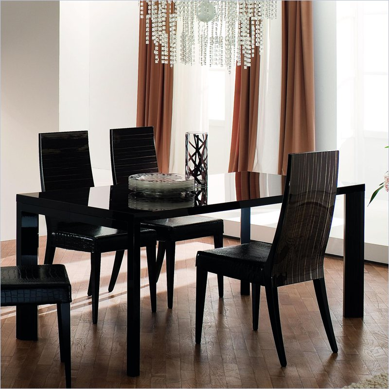 Nightfly Rectangular Dining Table with Extensions in Ebony